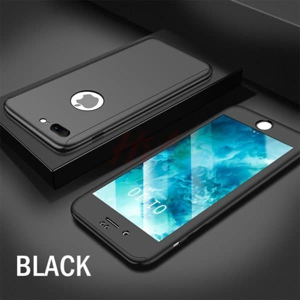 Black 360 degree protection case for iPhone 8