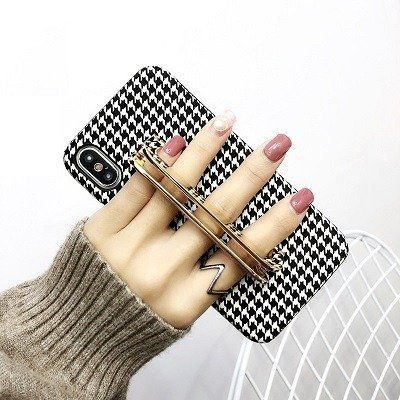Checkered phone case With Gold Holder