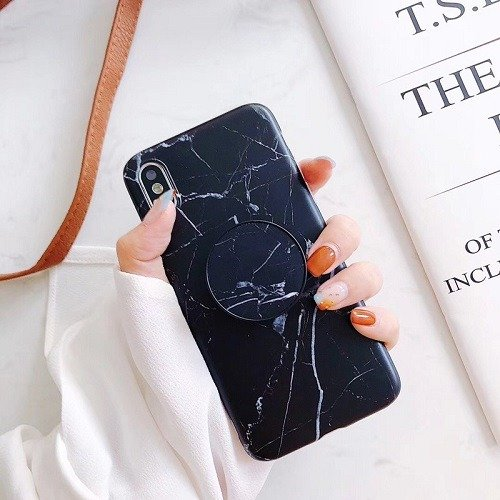Black Marble phone case with pop up holder for iPhone 11 Pro Max