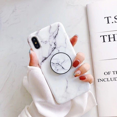 White Marble phone case with popsocket for iPhone X 7 8 9 Plus