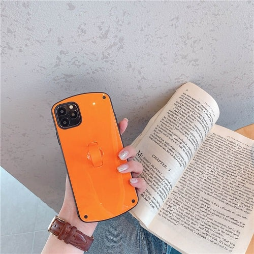 Orange Candy Color Phone Case With Finger Loop for iPhone 11