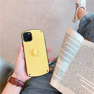 Yellow Candy Color Phone Case With Finger Loop for iPhone Xs Max