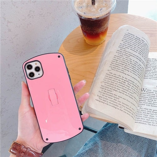 Pink Candy Color Phone Case With Finger Loop