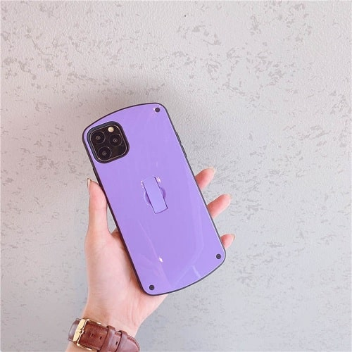 Purple Candy Color Phone Case With Finger Loop for iPhone 11 Pro Max
