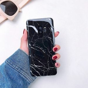 Black marble granite samsung case