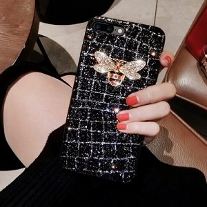 Diamond bee glitter phone case