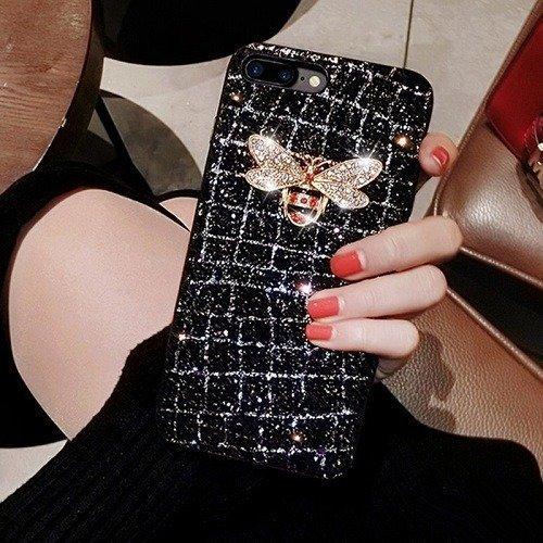 Diamond bee glitter phone case