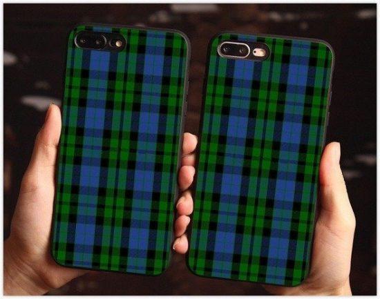 Green plaid phone case