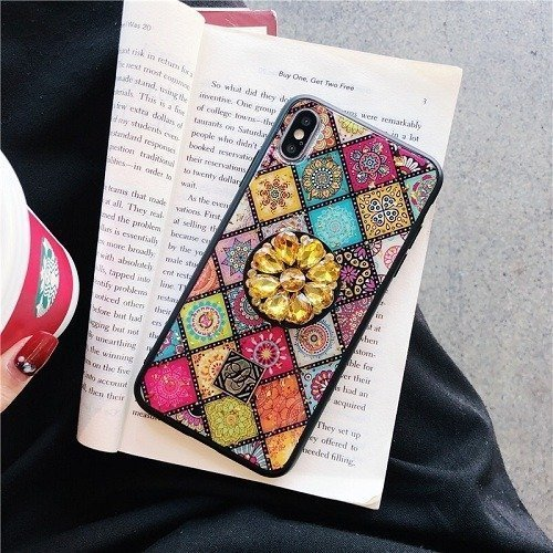 Multicolor Mandala Pop Stand iPhone Case