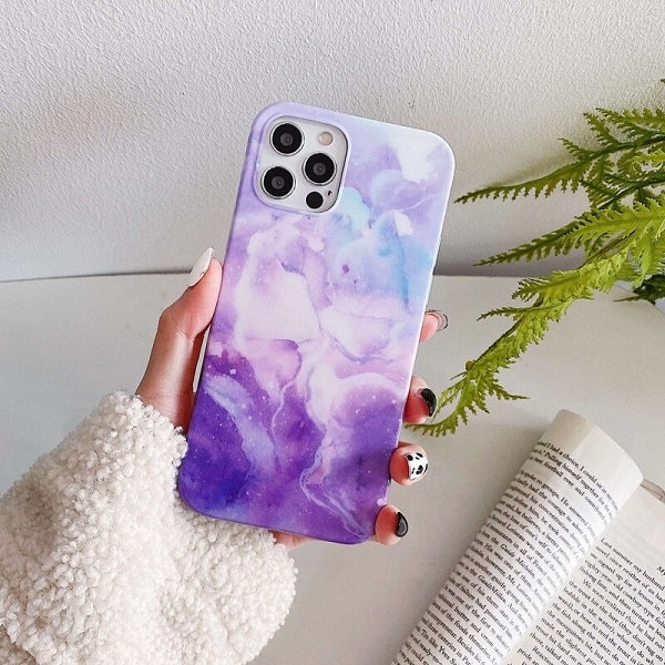 Purple Stone Marble iPhone Case- New camera lens protection Cover