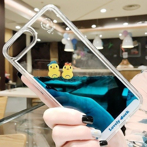 Transparent liquid yellow duck phone case