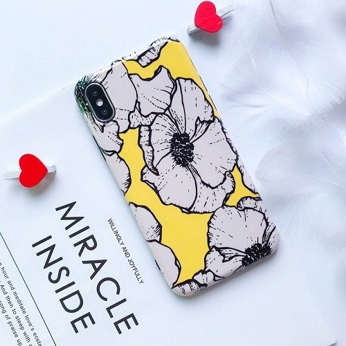 Glossy Yellow Floral iPhone Case