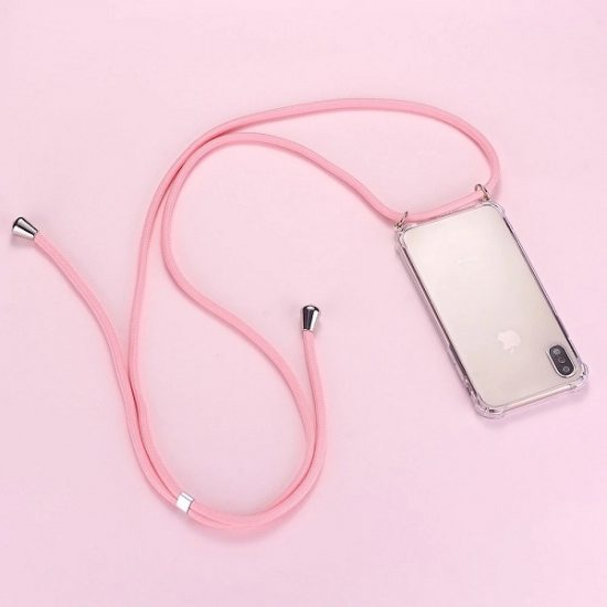 Phone Case with pink Strap Cord Necklace