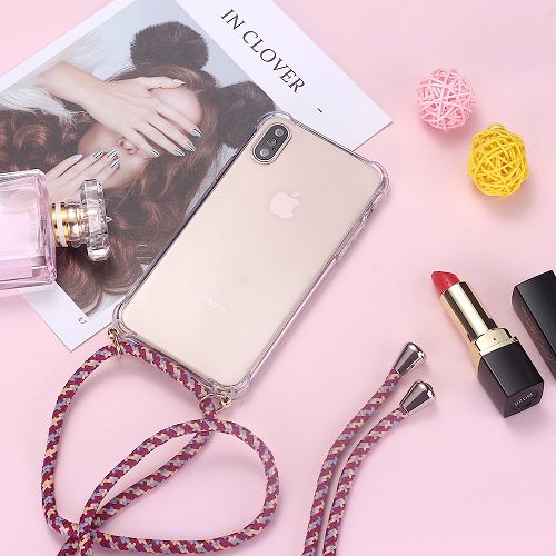 Transparent TPU Phone Case with Cord Strap Necklace