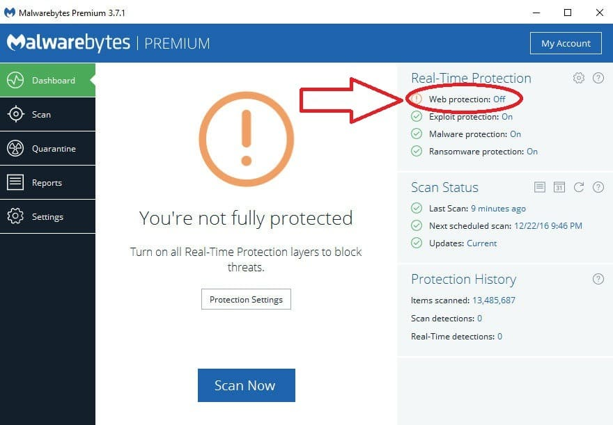 Malwarebytes web protection premuim won't open or turn on