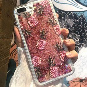 light pink pineapple glitter iphone case