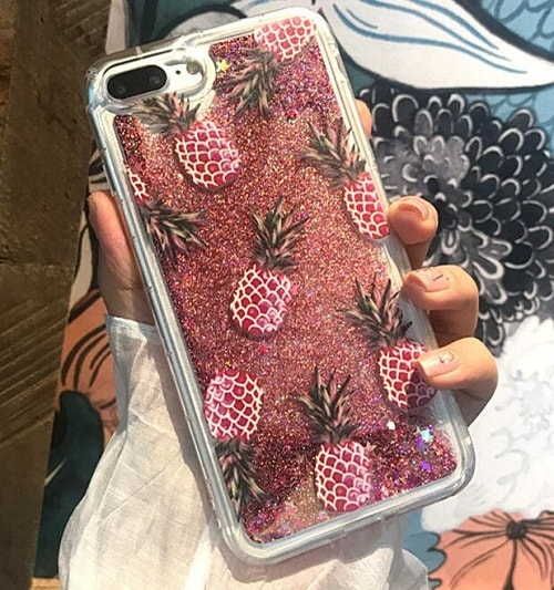 light pink pineapple glitter iphone case