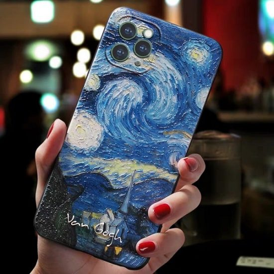 turquoise painting phone cases for iPhone 13 12 11 Pro Max Xs Max Xr