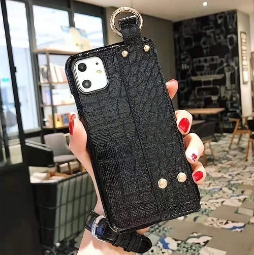 Croc Leather Phone Case With Strap