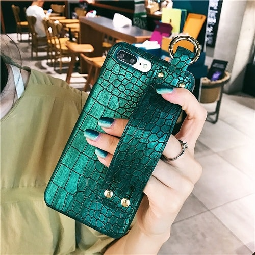 Croc Leather Phone Case With Wrist Strap