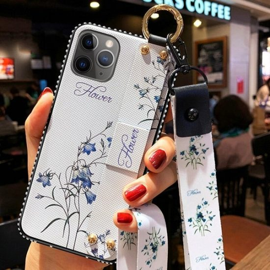 Flower iPhone Case with wrist strap and neck strap