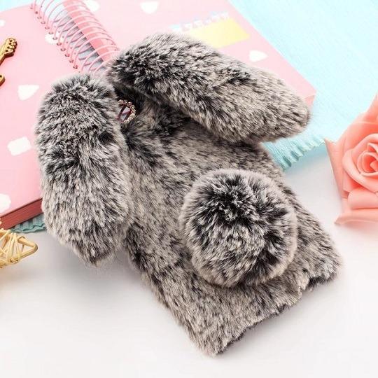 Dark Gray Furry Fluffy Rabbit Ears iPhone Case