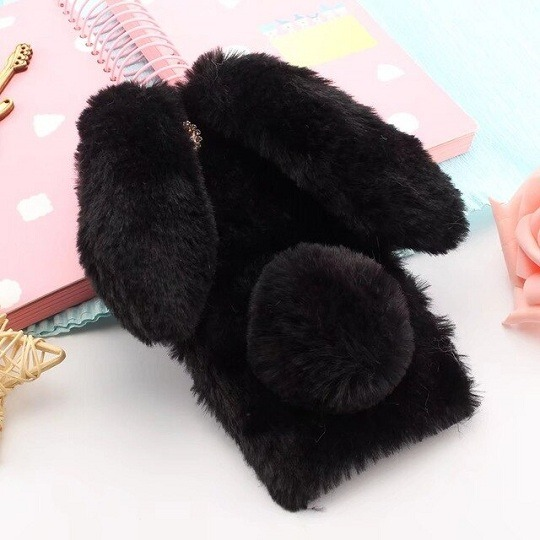Black Furry Fluffy Rabbit Ears iPhone Case