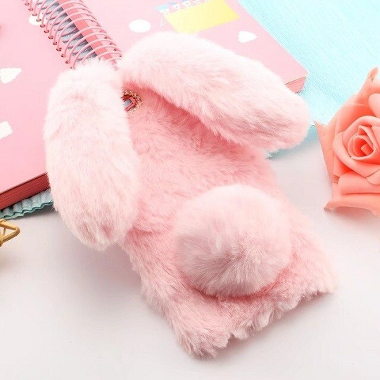 Pink Furry Fluffy Rabbit Ears iPhone Case