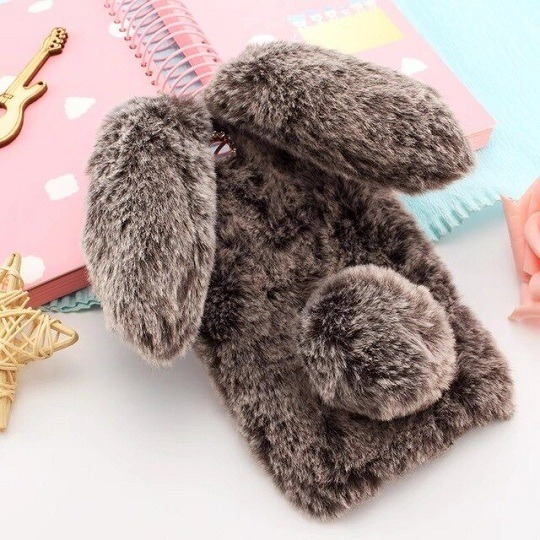 brown Furry Fluffy Rabbit Ears iPhone Case