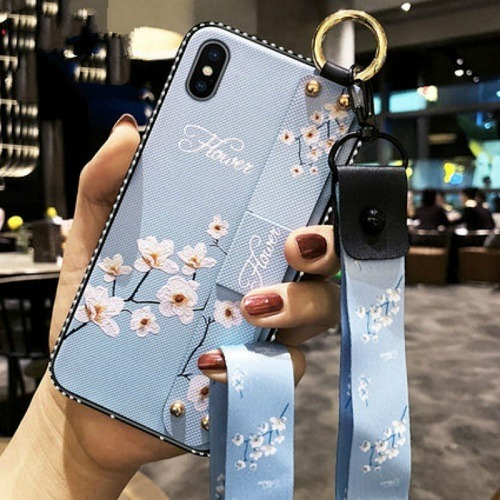 Blue PHONE CASE WITH wrist strap and neck strap