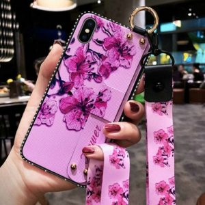 Pink PHONE CASE WITH wrist strap and neck strap