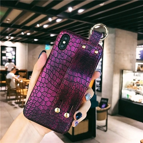 Purple Croc Leather Cell Phone Case With Wrist Strap