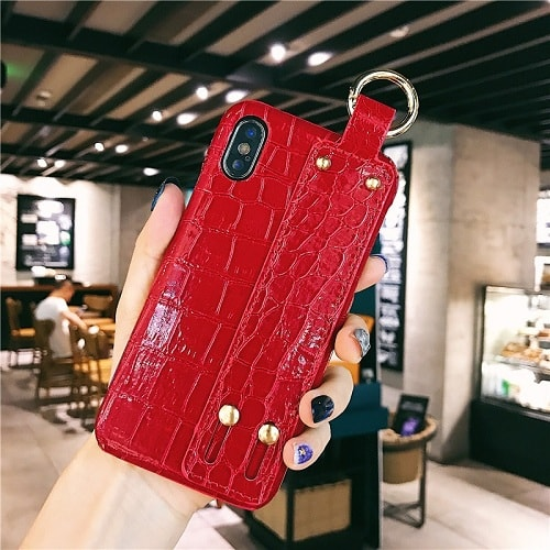 Red Croc Leather Cell Phone Case With Wrist Strap