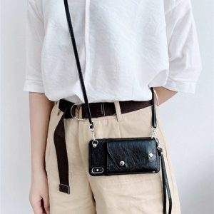 Black leather iPhone case with crossbody and hand strap