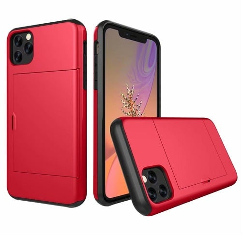 Red iphone case with wallet slide protective cover