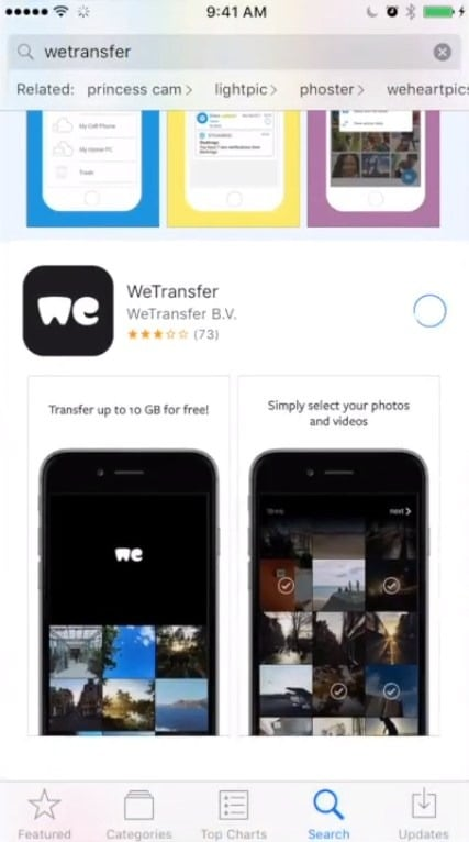 Share large videos on android using Wetransfer