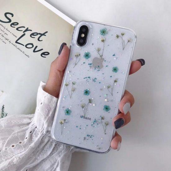 blue Dried Flower Glitter Phone Case