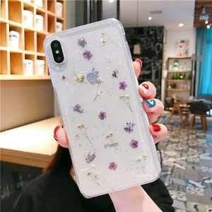 purple Dried Flower Glitter Phone Case