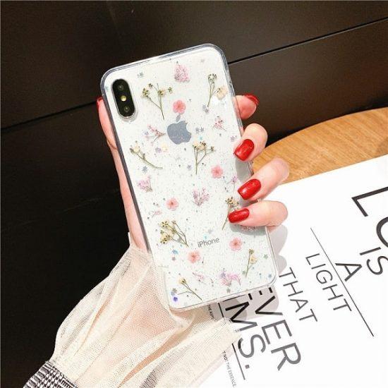 pink Dried Flower Glitter Phone Case