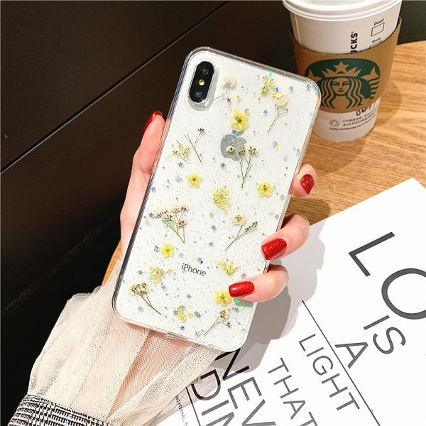 Yellow Dried Flower Glitter Phone Case