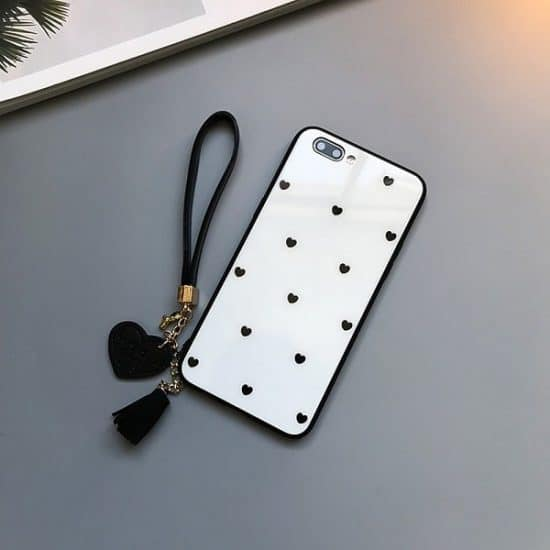 White Love Heart Tempered Glass Phone Case With Tassel Lanyard