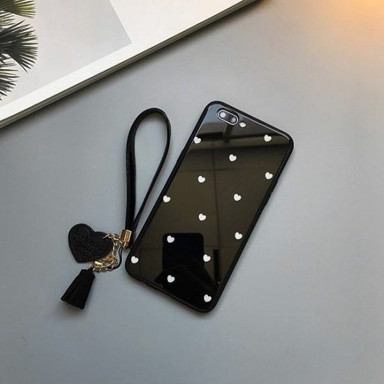 Black Love Heart Tempered Glass Phone Case With Tassel Lanyard