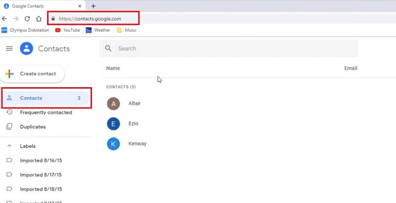 go to contacts.google.com