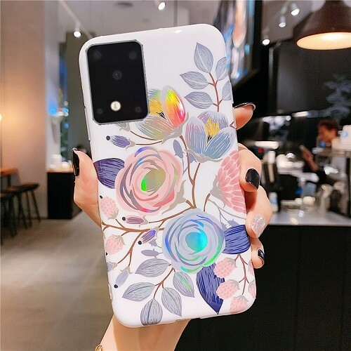 Holo flower phone case for samsung S20, S20 Plus, S20 Ultra