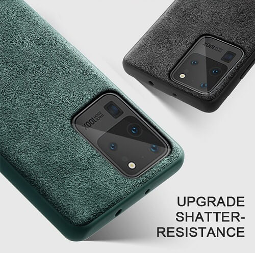 Green alcantara phone case for galaxy s20 plus