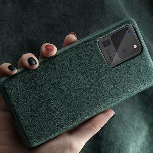 Green alcantara phone case for samsung s20