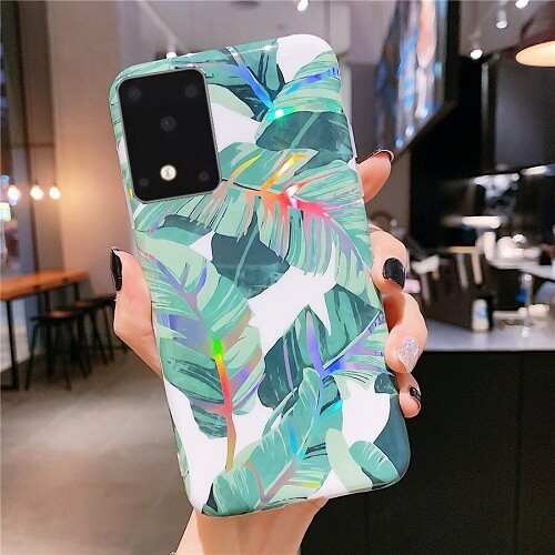 Holographic banana leaves phone case for samsung S20, S20 Plus, S20 Ultra