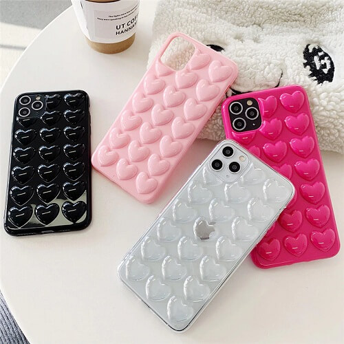 3D Love Heart Phone Case With Lanyard for iPhone 11 Pro Max Xs X