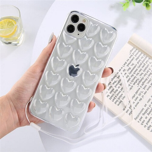 Transparent 3D Love Heart Phone Case With Lanyard for iPhone