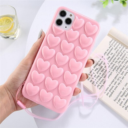 3D Bubble Love Heart Phone Case With Lanyard for iPhone